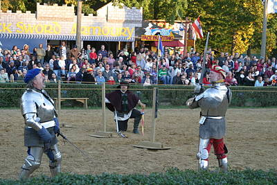 Maryland Renaissance Festival - Jousting And Sword Fighting - 121239 Poster