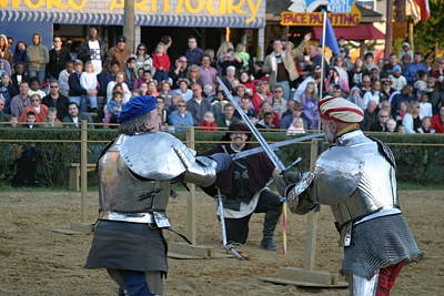 Maryland Renaissance Festival - Jousting And Sword Fighting - 121244 Poster