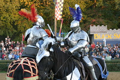 Maryland Renaissance Festival - Jousting And Sword Fighting - 121247 Poster