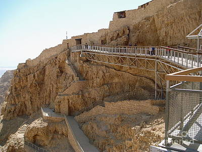 Masada. Israel. The Bridge To The Top Of Masada. Poster