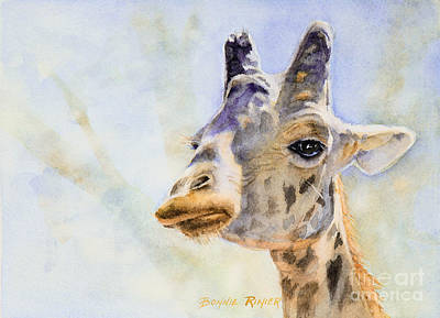 Poster featuring the painting Masai Giraffe by Bonnie Rinier