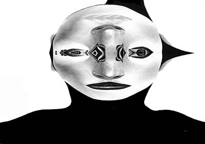 Poster featuring the painting Mask Black And White by Rafael Salazar