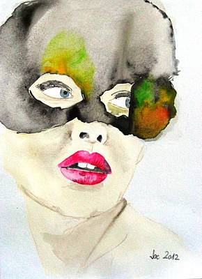Mask In Watercolor Poster by Jacqueline Schreiber