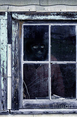 Masked Man Looking Out Window Poster