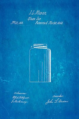 Mason Jar Patent Art 1858 Blueprint Poster