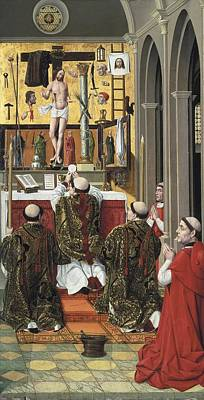 Mass Of Saint Gregory. 15th C Poster by Everett