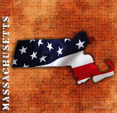 Massachusetts American Flag State Map Poster by Marvin Blaine