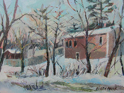 Poster featuring the painting Massachusetts Snowfall by Linda Novick