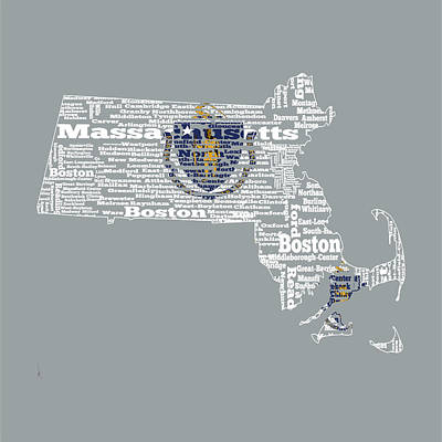 Massachusetts State Flag Word Cloud Poster