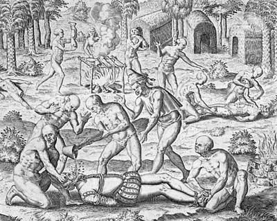 Massacre Of Christian Missionaries Poster by Theodore De Bry
