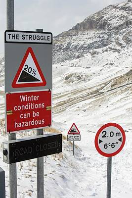 Massive Snow Drifts Blocking A Road Poster by Ashley Cooper