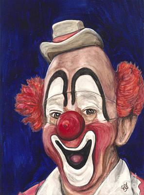 Watercolor Clown #3 Lou Jacobs Poster by Patty Vicknair