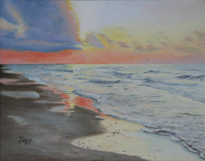 Matagorda Beach Sunrise Poster by Jimmie Bartlett