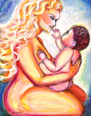 Poster featuring the painting Maternal Bliss by Anya Heller