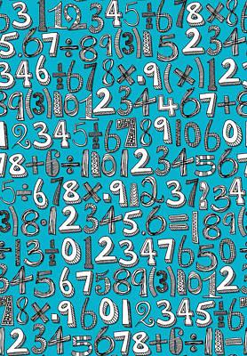 Math Doodle Blue Poster
