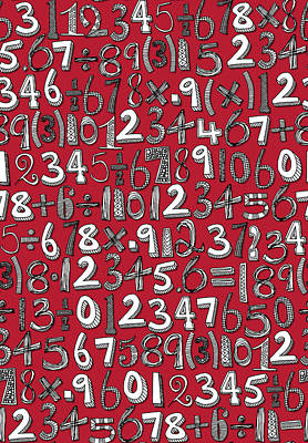 Math Doodle Red Poster by Sharon Turner