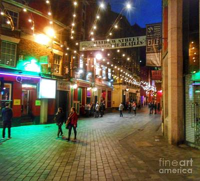 Mathew Street At Night Poster by Joan-Violet Stretch