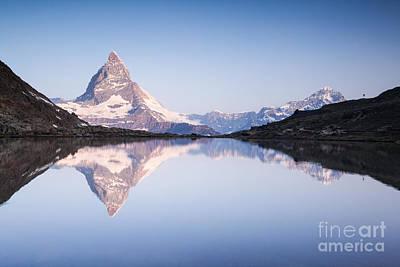 Matterhorn Reflected In Riffelsee Lake At Sunrise Zermatt Switzerland Poster by Matteo Colombo
