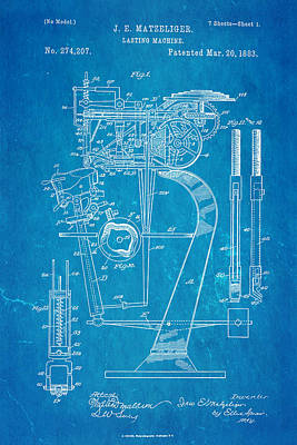 Matzeliger Lasting Machine Patent Art 1883 Blueprint Poster by Ian Monk