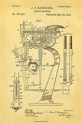 Matzeliger Lasting Machine Patent Art 1883 Poster by Ian Monk