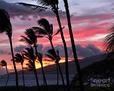 Poster featuring the photograph Maui Sunset by Peggy Hughes