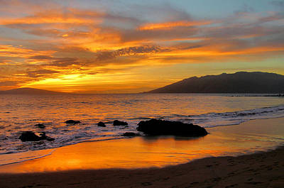 Maui Sunset Poster by Stephen  Vecchiotti