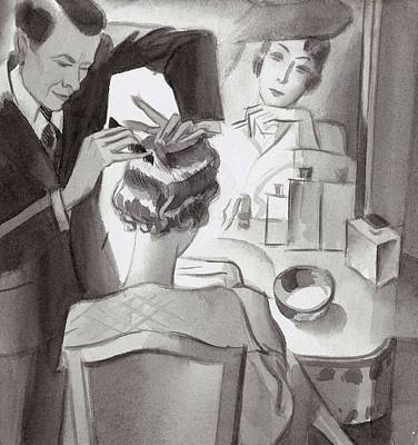 Maurice And Emile Styling Lady Mendl's Hair Poster by  Libiszewski