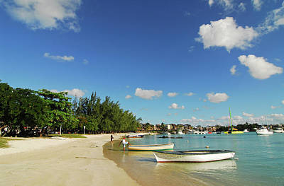 Mauritius, Grand Baie, Boat At Water's Poster by Anthony Asael