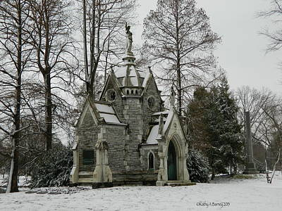 Mausoleum In Winter Poster by Kathy Barney