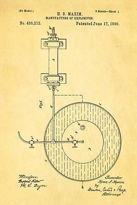 Maxim Explosives Patent Art 1890 Poster by Ian Monk