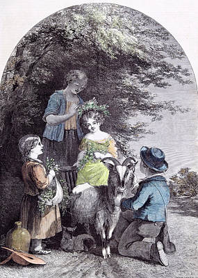 May G.w. Willis Children Goat Pastoral Spring Poster by English School