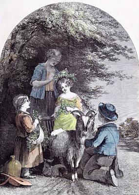May G.w. Willis Children Goat Pastoral Spring Poster