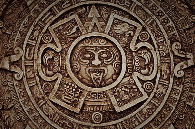Aztec Sun God Poster