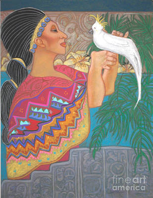 Mayan Goddess With Cockatoo Poster by Pamela Mccabe