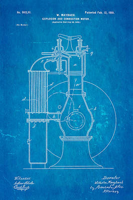 Maybach Internal Combustion Engine Patent Art 1901 Blueprint Poster by Ian Monk