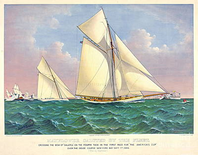 Mayflower Beats Galatea 1886 Poster by Padre Art