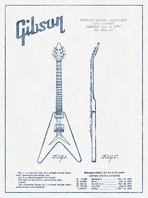 Mccarty Gibson Electric Guitar Patent Drawing From 1958 - Blue I Poster