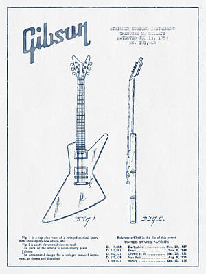 Mccarty Gibson Electrical Guitar Patent Drawing From 1958 - Blue Poster