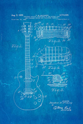 Mccarty Gibson Les Paul Guitar Patent Art 1955 Blueprint Poster by Ian Monk