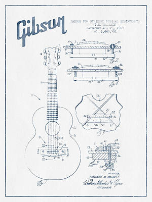 Mccarty Gibson Stringed Instrument Patent Drawing From 1969 - Bl Poster