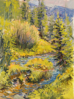 Poster featuring the painting Meadow Creek Montana by Steve Spencer