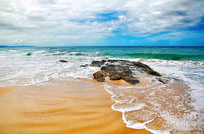 Meandering Waves On Tropical Beach Poster by Kaye Menner