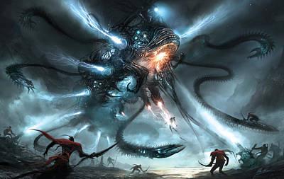 Mech Dragon Battle Poster by Alex Ruiz