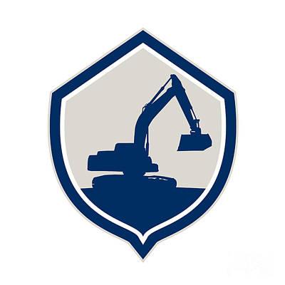 Mechanical Digger Excavator Shield Retro Poster by Aloysius Patrimonio