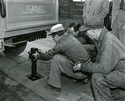 Mechanics Working On Vintage Truck Poster by Retro Images Archive