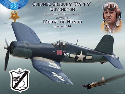 Medal Of Honor Pappy Boyington Poster by Mil Merchant
