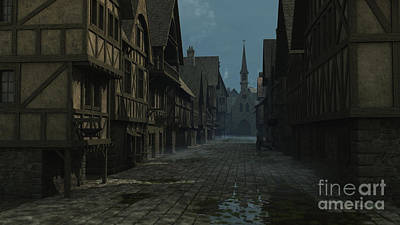Mediaeval Street At Evening Poster