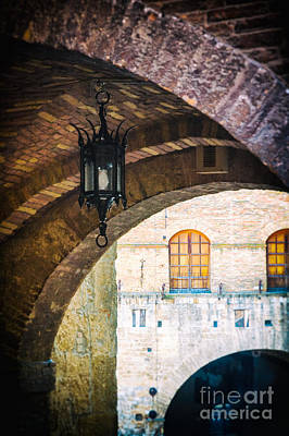 Poster featuring the photograph Medieval Arches With Lamp by Silvia Ganora