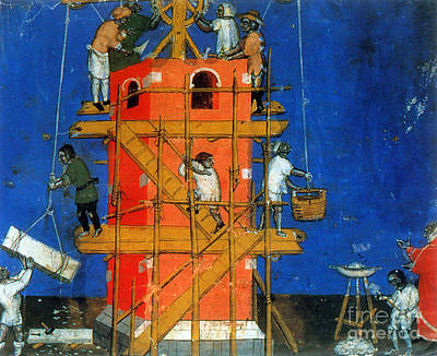 Medieval Construction, 14th Century Poster by Photo Researchers