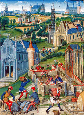 Medieval Construction, 15th Century Poster by Photo Researchers